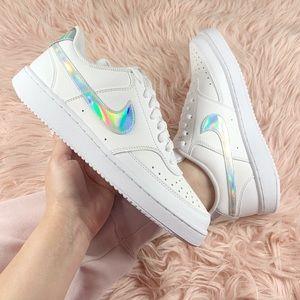 New Nike Women's Sneakers Iridescent Swoosh